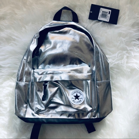 bd4aa2524830 Converse silver metallic mini backpack new